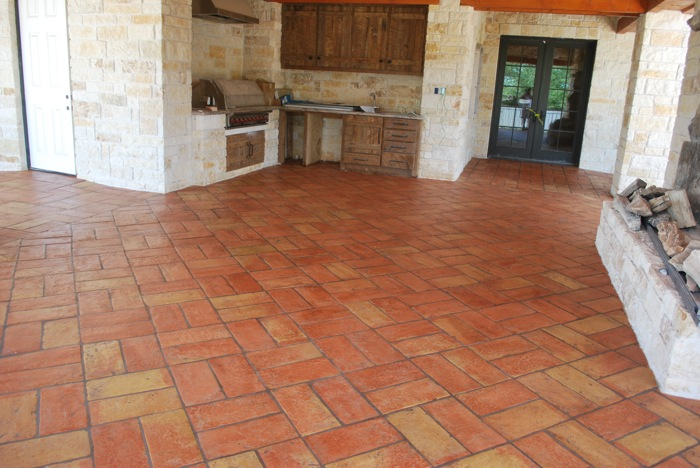 Terracotta Used In A Cover Patio Backet Weave Pattern