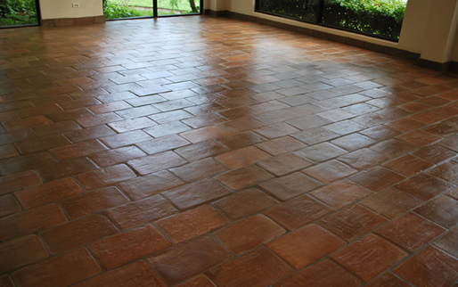 terracotta tiles in a broken joint pattern