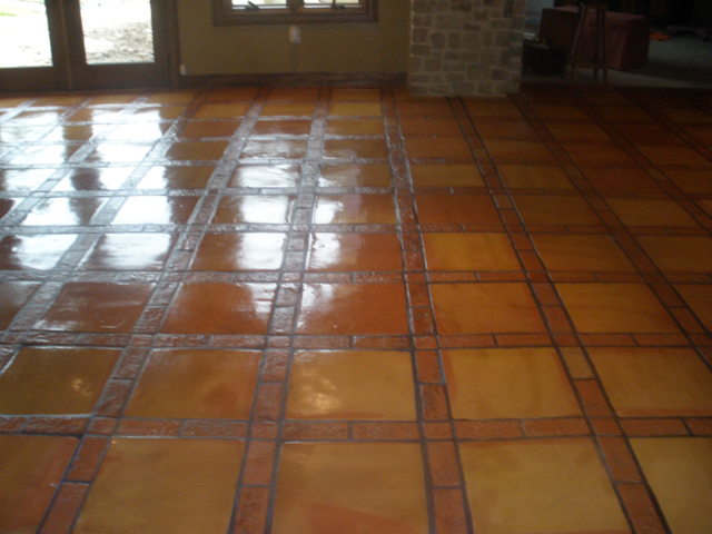 Saltillo tile in dijon pattern