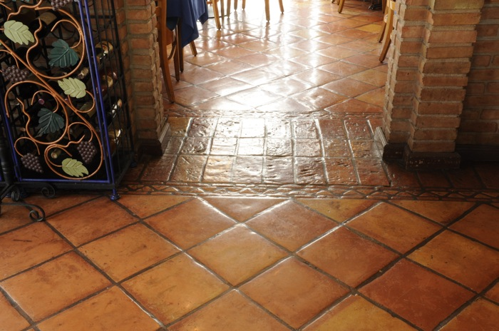 saltillo tile in a french restaurant