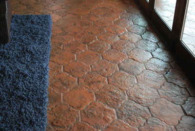 Our San Felipe antique terracotta tile is perfect for indoor or outdoor spaces. (Shown here in speckled color.)